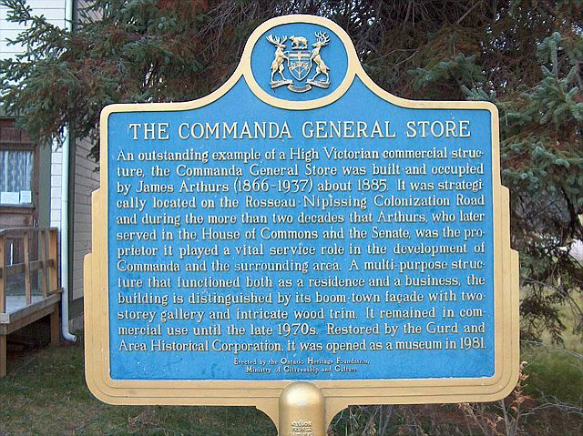 Ontario historical plaque at the Commanda General Store - now the Commanda Museum