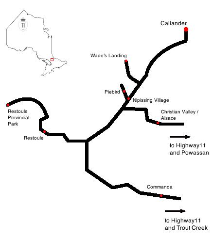 highway11.ca, Nipissing Village, Callander, Nipissing, Christian Valley, Alsace, Restoule, Commanda, Piebird map