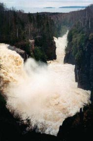Aguasabon Falls near Terrace Bay, Ontario highway 17 highway 11
