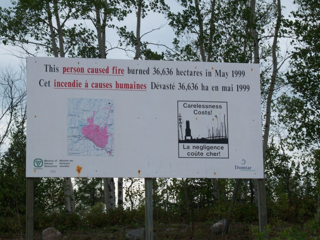 White River, Ontario forest fire warning