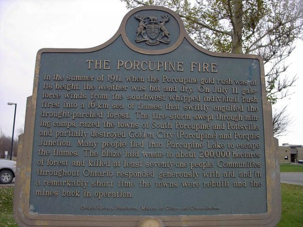 Porcupine Fire historical plaque.  I ended up blogging a bit about the fire on the South Porcupine page.