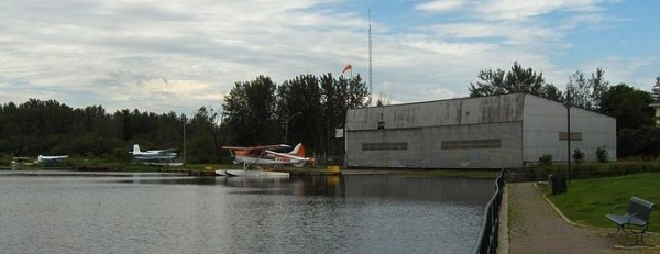 The Porcupine Waterdome float plane terminal is actually in South Porcupine, visible across the lake from Porcupine.  (Photo credit: John Monaghan)