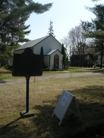 Ontario historical plaque for the Ferguson Road outside the old church in Muskoka Falls, just off Highway 11