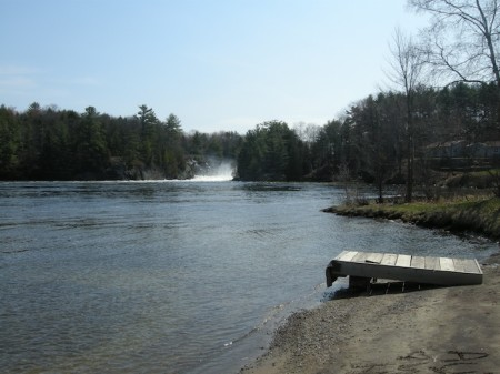 The falls, from the public boat launch in Muskoka Falls
