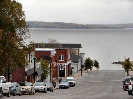 Haileybury, downtown, Highway 11 Ontario Lake