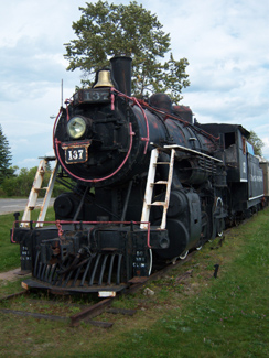 Old locomotive on display in Cochrane, Ontario