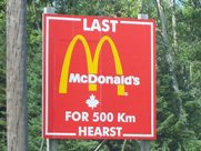 No McDonald's for 500 km in Hearst, Highway 11