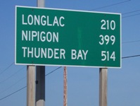 Highway 11 distance, Longlac