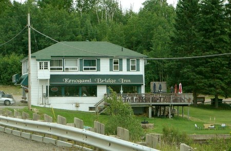 Kenogami Lake Inn on Highway 11, with a waterfront patio