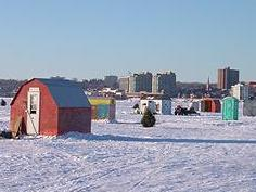 Ice fishing, Lake Simcoe, Highway 11