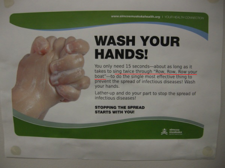 "So this Ontario Public Health sign was up in the washroom of the visitor's centre, where I parked in Bracebridge.  And I got to reading it.  Does anyone truly wash their hands for a full 15 seconds?  This was news to me.  So I followed their advice - and re-washed my hands whilst humming ""Row, Row, Row Your Boat"" aloud to myself...only to be interrupted by a knock at the washroom door - the staff attendant had heard me humming, and wanted to check on me to see if I was alright."