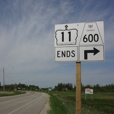Highway 11 Rainy River terminus end