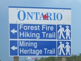 Hiking trails in Geraldton, Ontario, highway 11