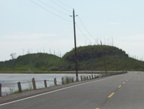 Weird bumpy rock formations follow Highway 11 in the Lake Nipigon area