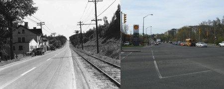 Yonge Street at York Mills in 1936 and 2013